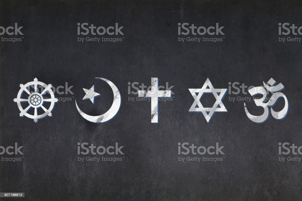 Blackboard Religious Symbols Stock Photo More Pictures Of