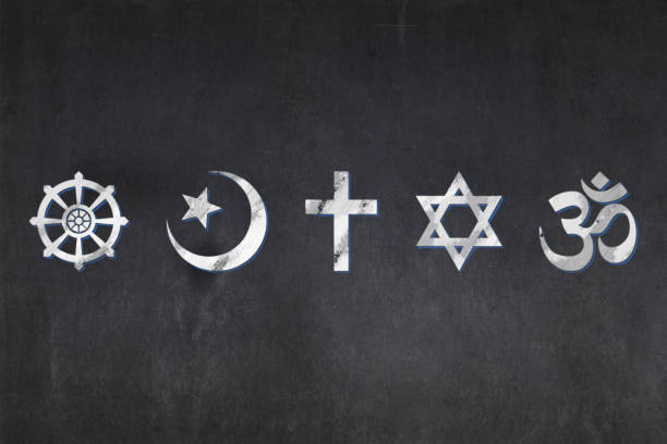 Blackboard - Religious symbols (Buddhism, Islam, Christianity, Judaism, and Hinduism) Blackboard with the symbols of the five most important religions (Buddhism, Islam, Christianity, Judaism, and Hinduism) drawn in the middle. religion stock pictures, royalty-free photos & images