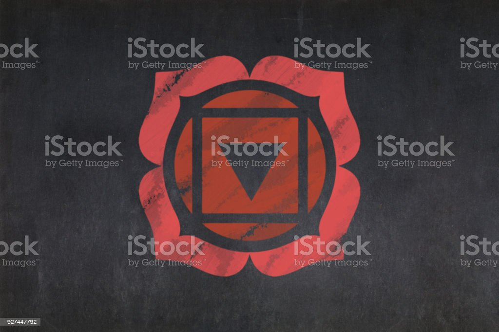 Blackboard - Root Chakra (Muladhara) stock photo