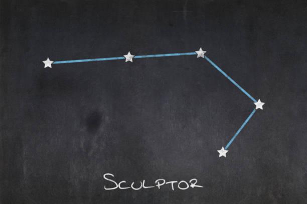 Blackboard - Sculptor constellation stock photo