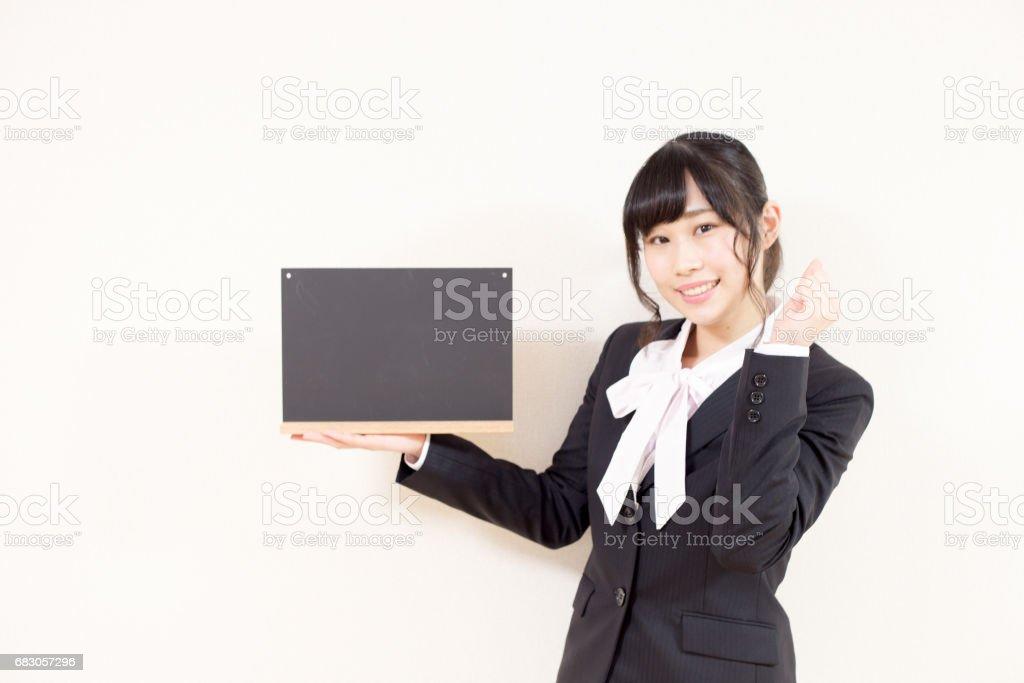 黒板 笑顔の女性 foto de stock royalty-free