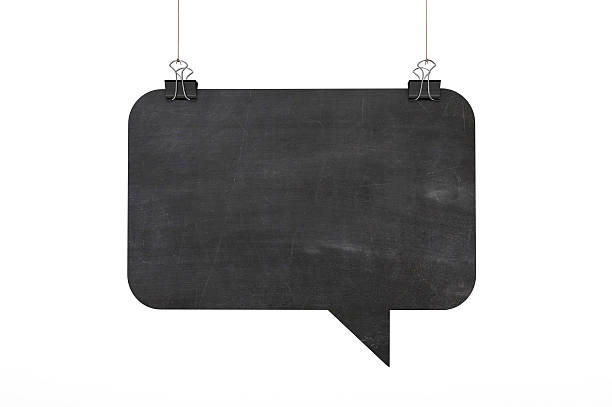 Blackboard speech bubble hanging on string stock photo