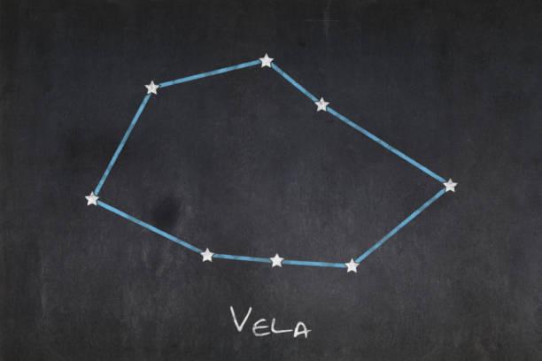 Blackboard - Vela constellation stock photo