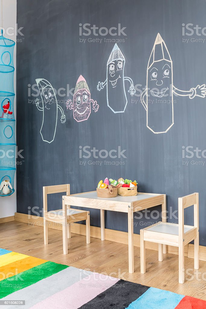 Blackboard wall in child room photo libre de droits