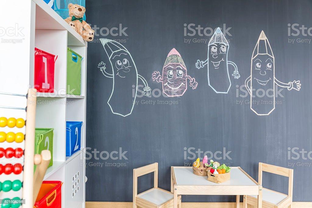 Blackboard wall in child room photo libre de droits