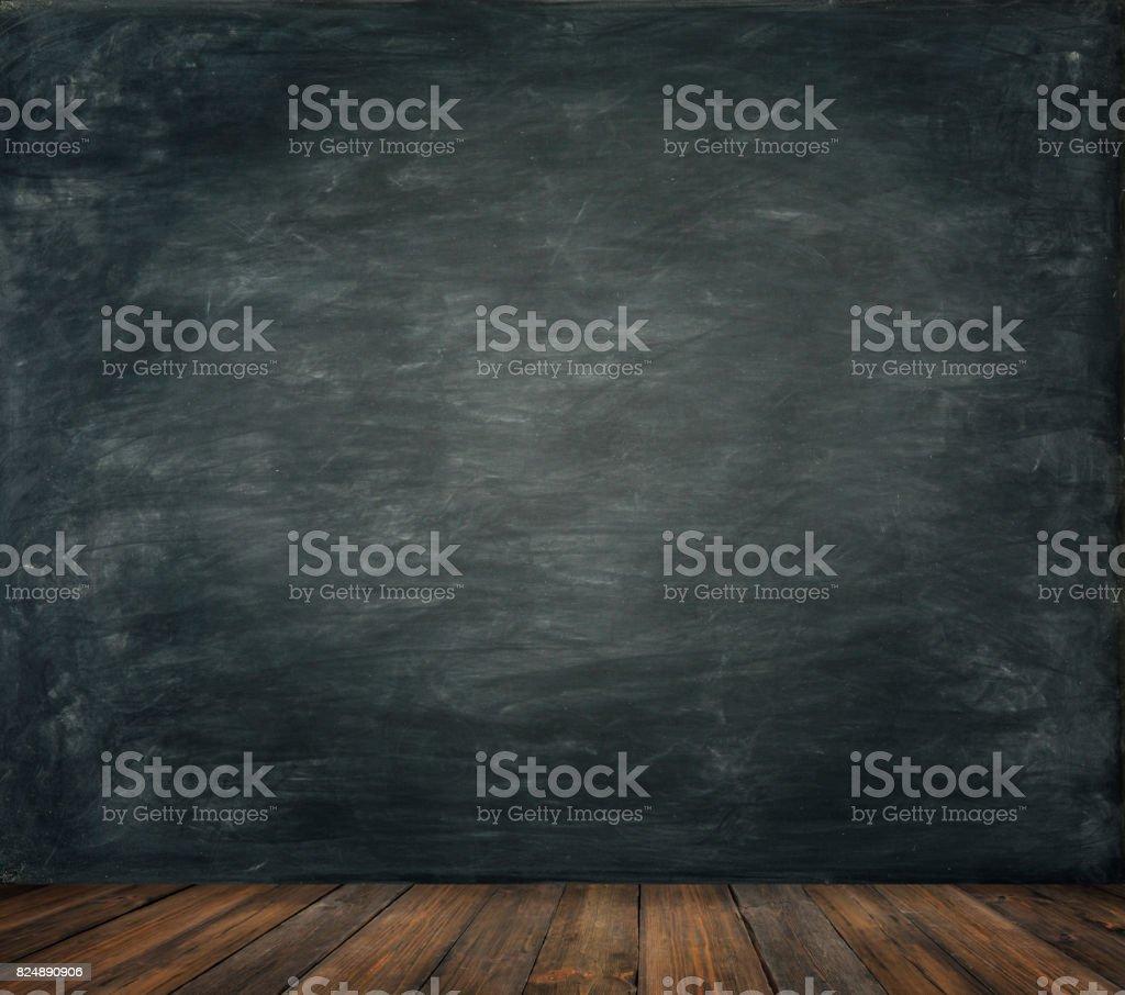 Blackboard Wall Wood Floor Background, School Black Board, Wooden...