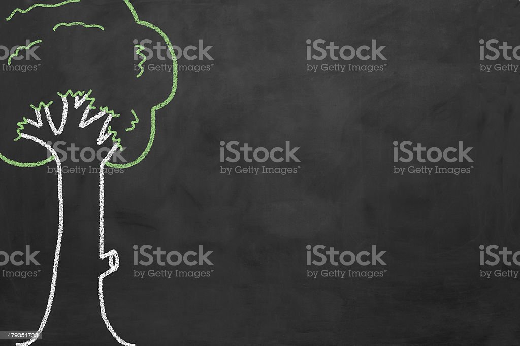 Blackboard with a tree royalty-free stock photo