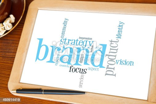 blackboard with brand marketing word cloud