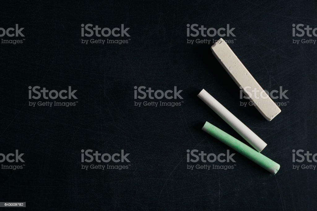 Blackboard with Chalks stock photo