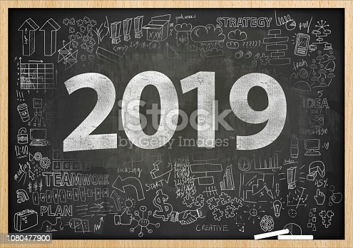 888342518istockphoto 2019 NEW YEAR / Blackboard with charts and diagrams concept (Click for more) 1080477900