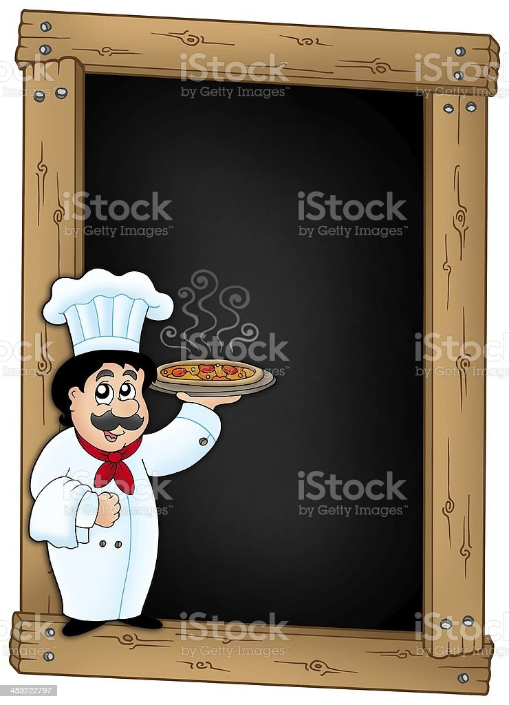Blackboard with chef holding pizza stock photo
