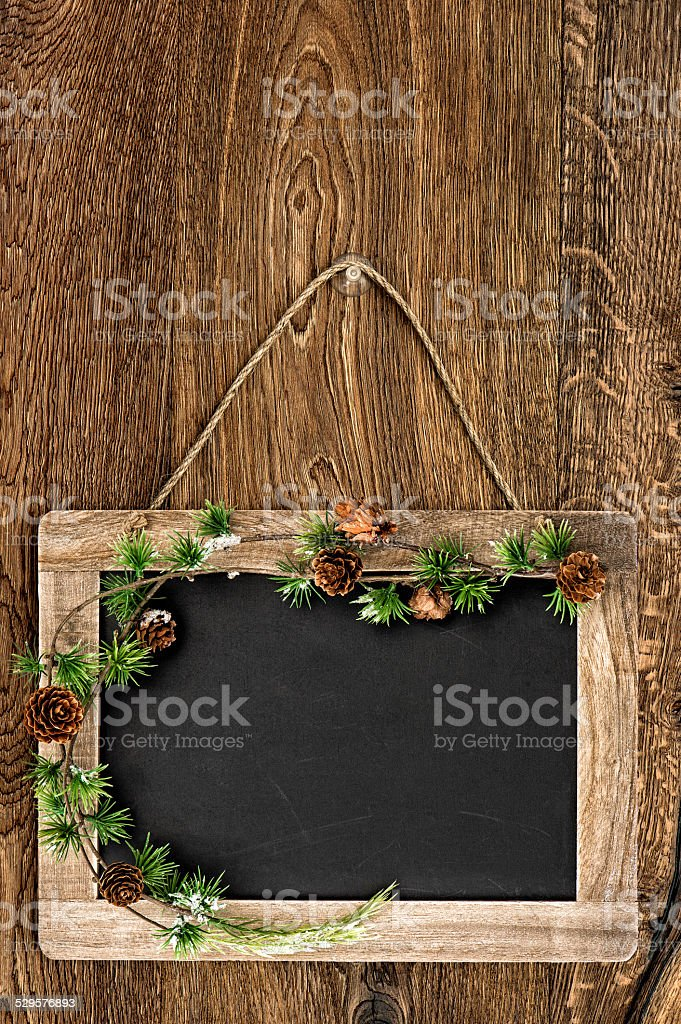Blackboard With Christmas Tree Branch Decoration Stock Photo Download Image Now Istock