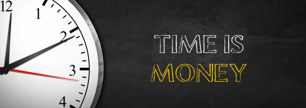 Blackboard with Clock saying Time is Money Blackboard with Clock saying Time is Money time is money stock pictures, royalty-free photos & images