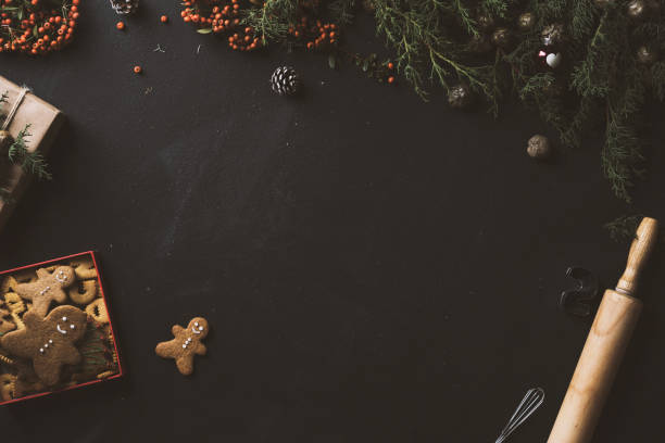 Blackboard with copy space, Christmas cookies stock photo