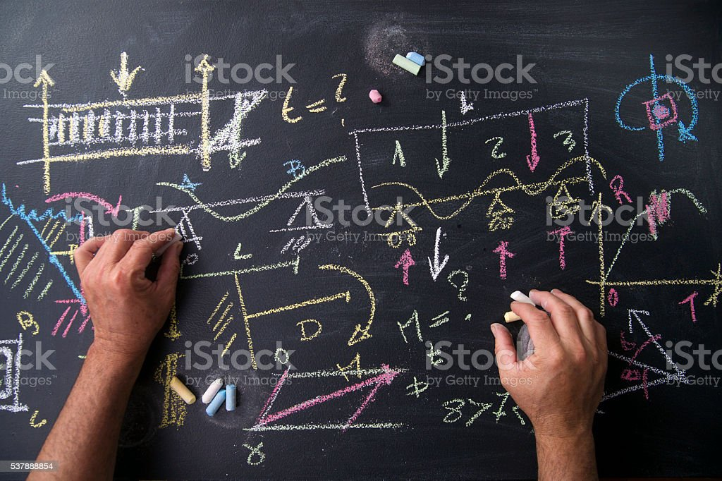 Blackboard with formulas stock photo
