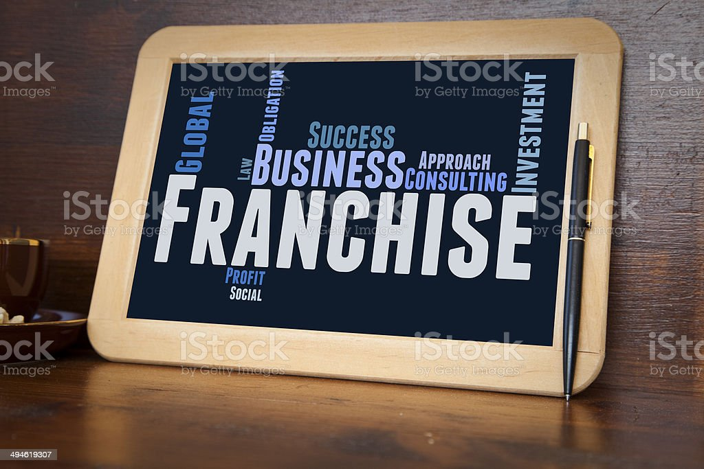 blackboard with franchise word cloud stock photo