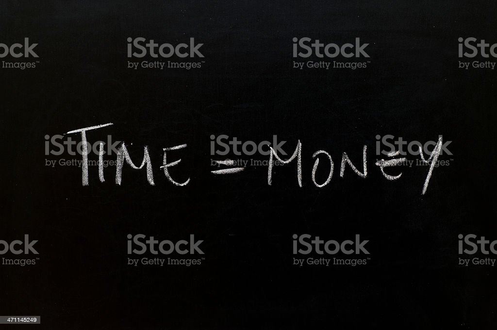 Blackboard with handwritten text. stock photo