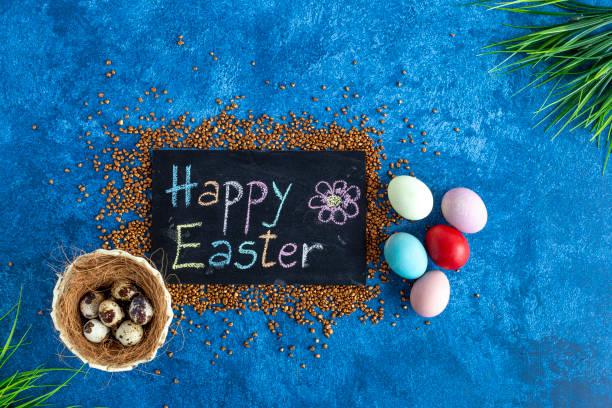 Blackboard with happy easter greeting decorative easter eggs on dark picture id1215093589?b=1&k=6&m=1215093589&s=612x612&w=0&h=0b1sorvy0ro5rz juimjnyt5yr 8ns20aaqwnxl ocy=