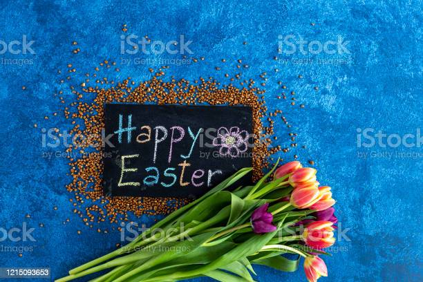 Blackboard with happy easter greeting tulips on dark blue background picture id1215093653?b=1&k=6&m=1215093653&s=612x612&h=vvf ifgwo4ir5coi3d7zxgszbziawuazfof9lemdhlm=