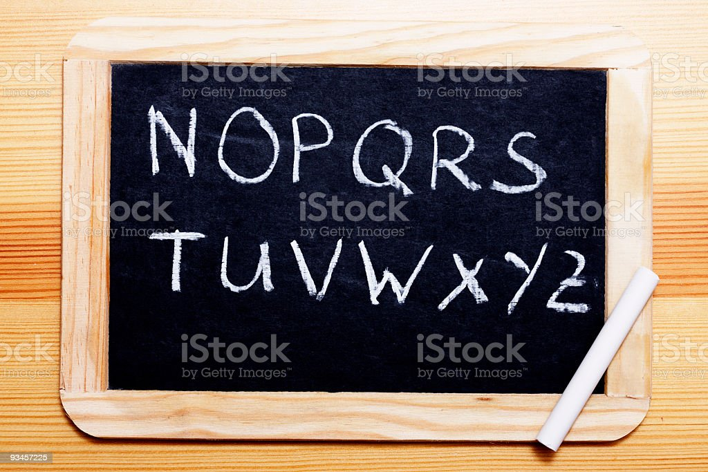 Blackboard with letters N to Z stock photo