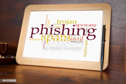 blackboard with phising word cloud