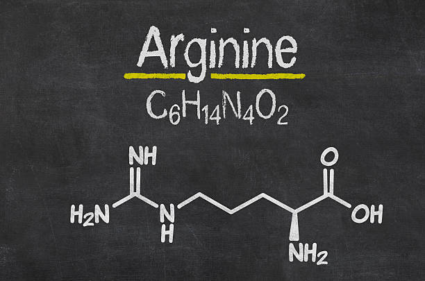 Blackboard with the chemical formula of Arginine Blackboard with the chemical formula of Arginine amino acid stock pictures, royalty-free photos & images