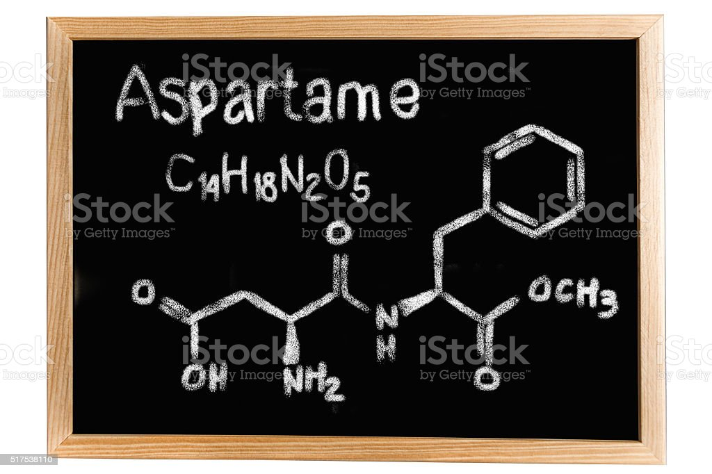 Blackboard with the chemical formula of Aspartame stock photo
