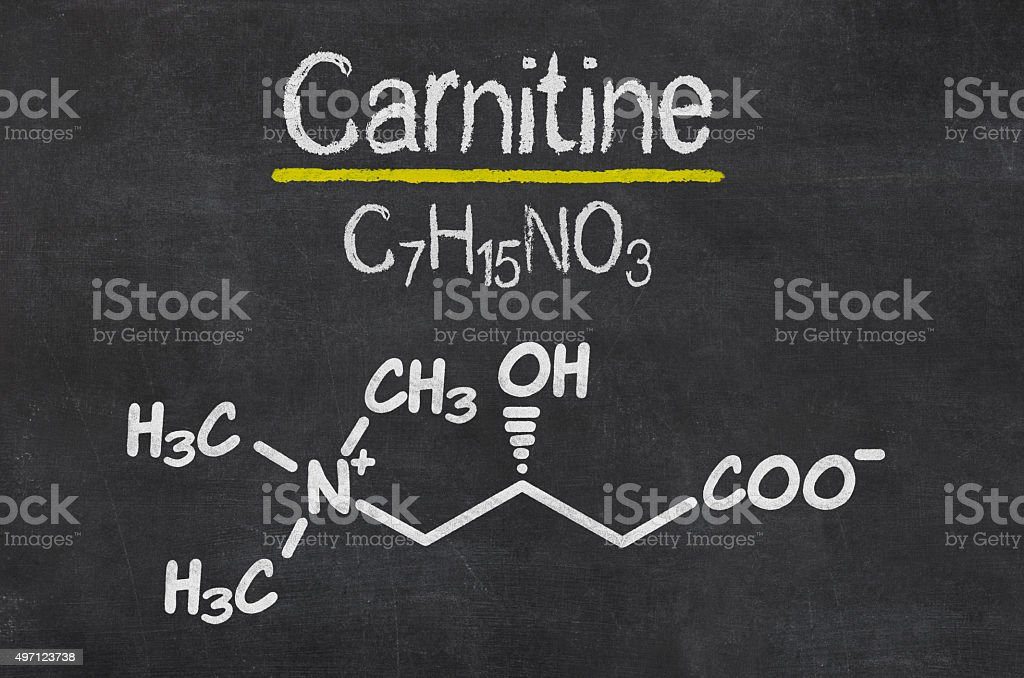 Blackboard with the chemical formula of Carnitine stock photo