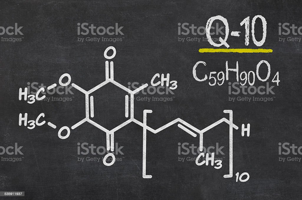 Blackboard with the chemical formula of coenzyme q10 stock photo
