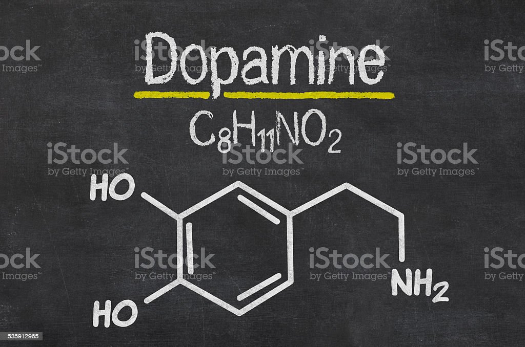Blackboard with the chemical formula of dopamine stock photo