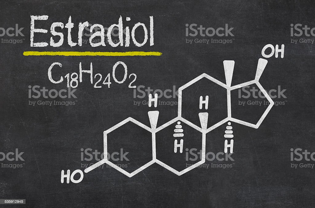 Blackboard with the chemical formula of estradiol stock photo