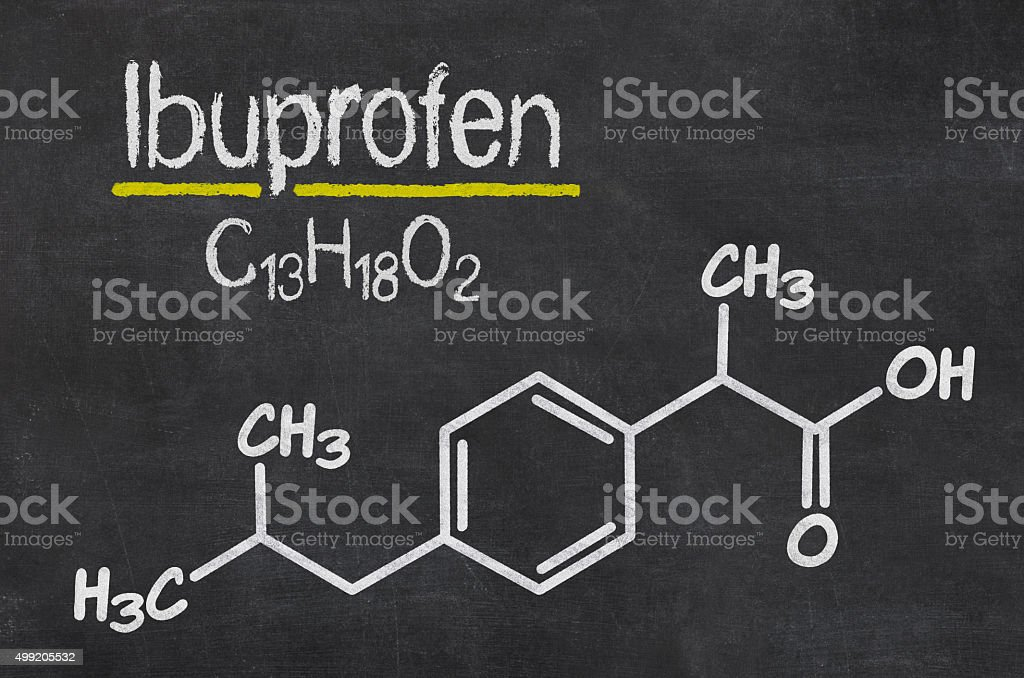 Blackboard with the chemical formula of Ibuprofen stock photo