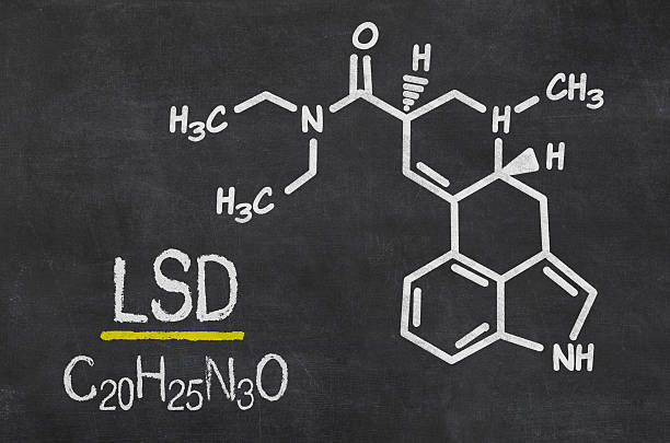 Blackboard with the chemical formula of LSD stock photo