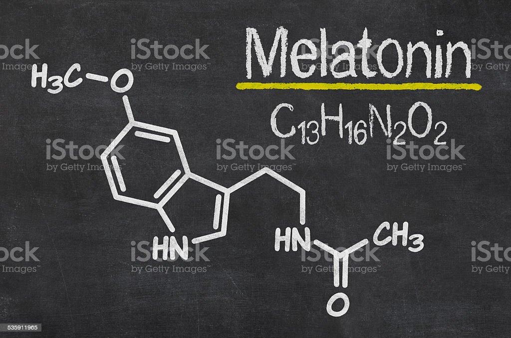 Blackboard with the chemical formula of melatonin stock photo