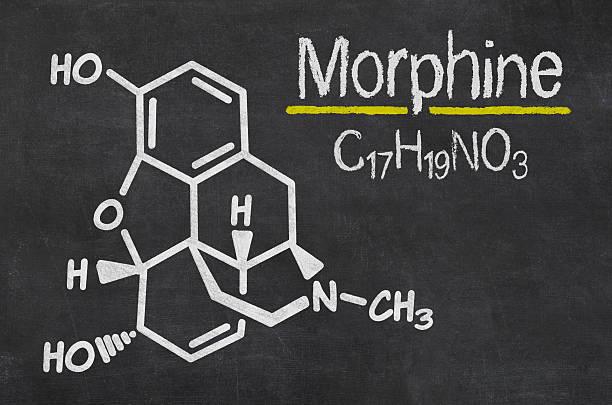 quadro negro com a fórmula química da morfina - morfina imagens e fotografias de stock