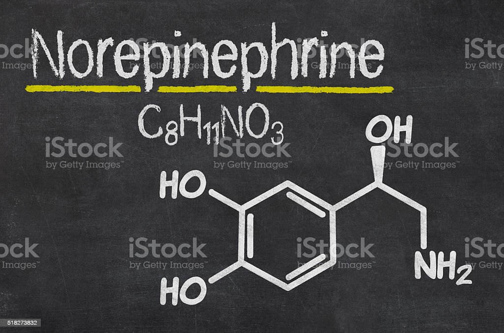 Blackboard with the chemical formula of Norepinephrine stock photo