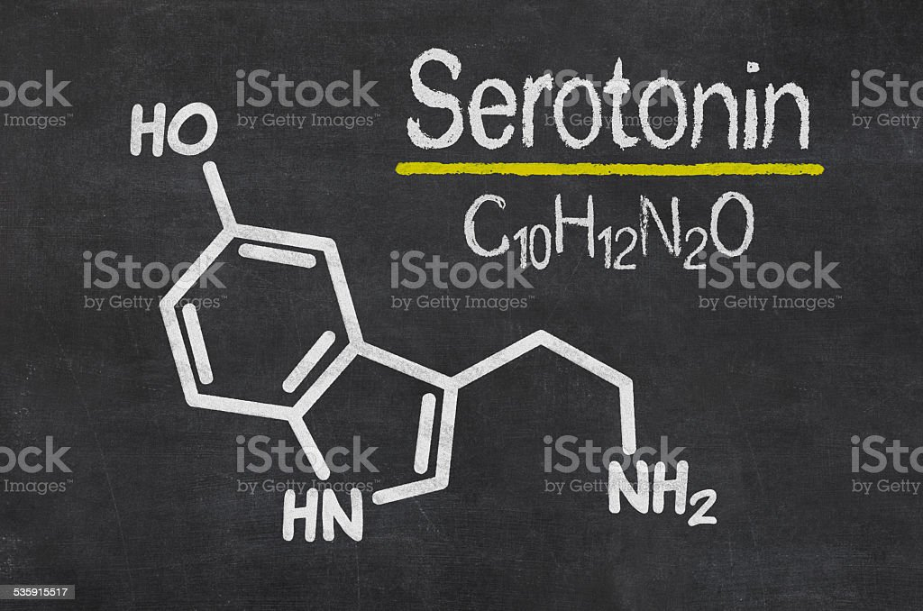 Blackboard with the chemical formula of serotonin stock photo