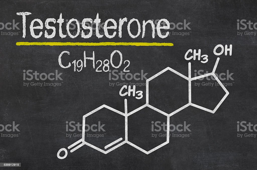 Blackboard with the chemical formula of testosterone stock photo