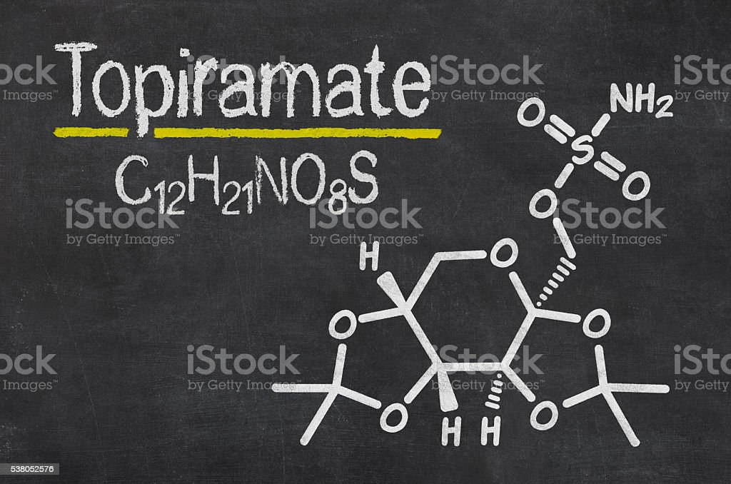 Blackboard with the chemical formula of Topiramate stock photo