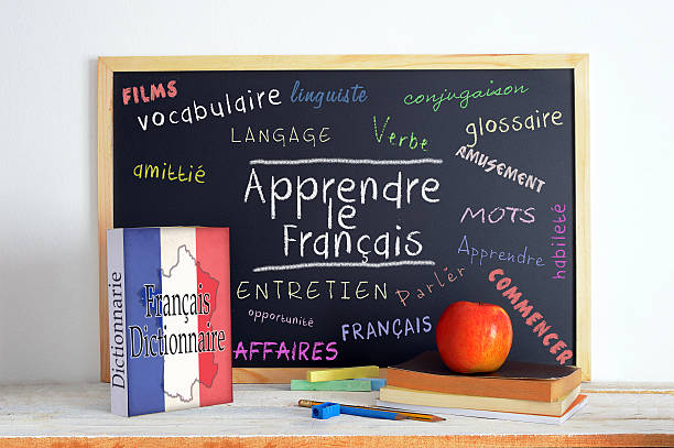 Blackboard with the message LEARN FRENCH Blackboard with the message LEARN FRENCH and some text french culture stock pictures, royalty-free photos & images