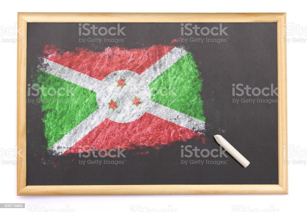 Blackboard with the national flag of Burundi drawn on.(series) stock photo