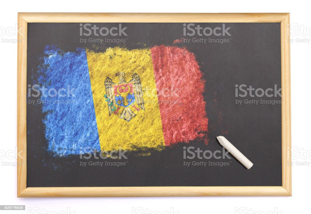 Blackboard with the national flag of Moldova drawn on.(series) stock photo