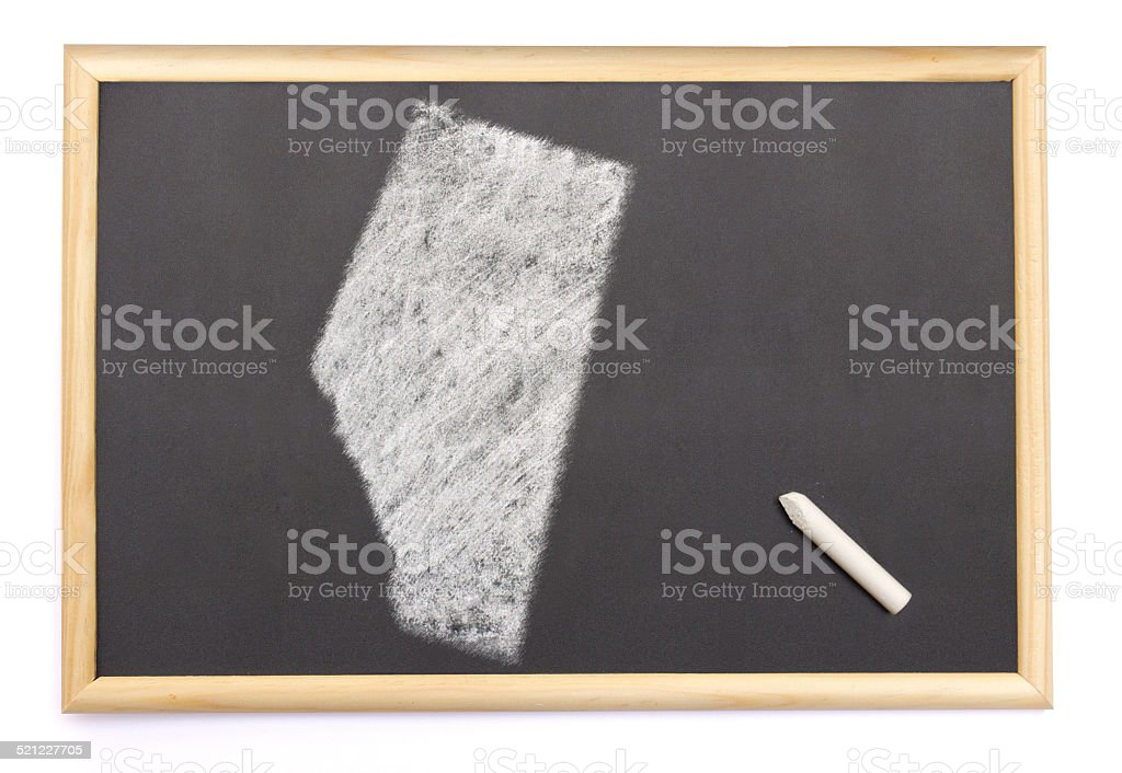 Blackboard with the shape of Alberta drawn onto. stock photo