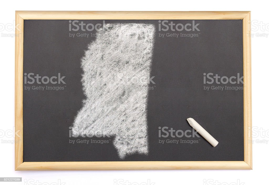 Blackboard with the shape of Mississippi drawn onto. stock photo