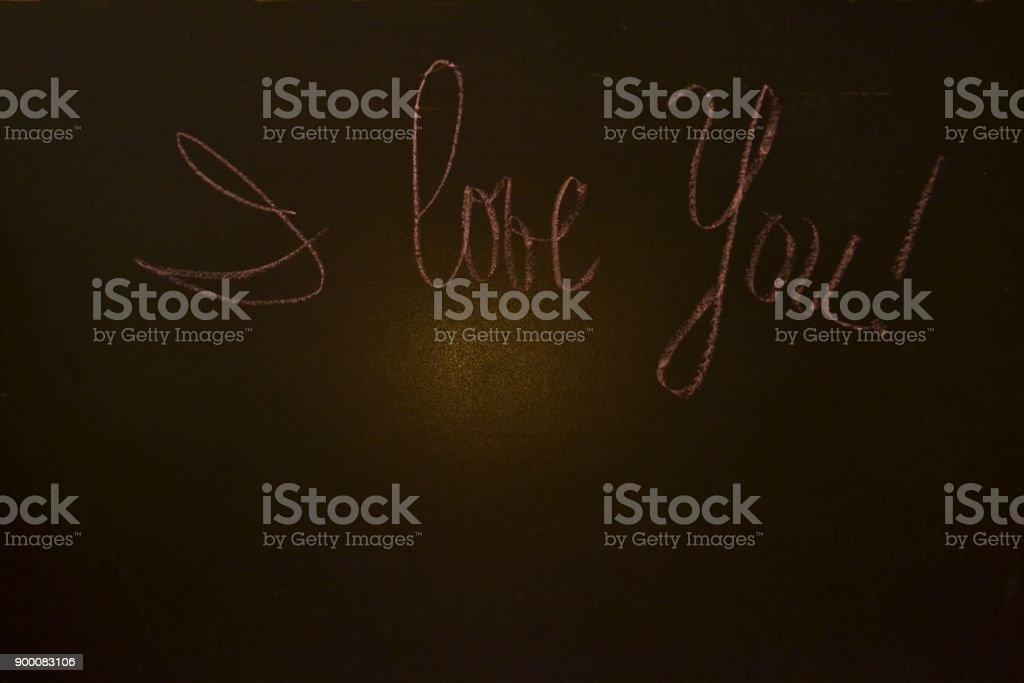 Blackboard with written 'I love you' on it stock photo