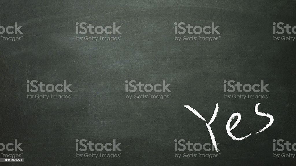 blackboard yes in corner royalty-free stock photo