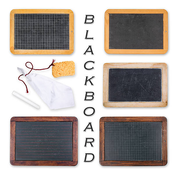 Blackboards with crayon, sponge and rag Different old blackboards with crayon. blackboard visual aid stock pictures, royalty-free photos & images