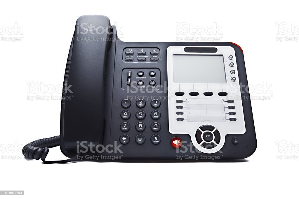 Black-corded dial phone with white background stock photo