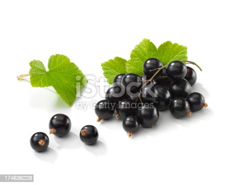 istock Blackcurrant bunch with Leafs 174636228