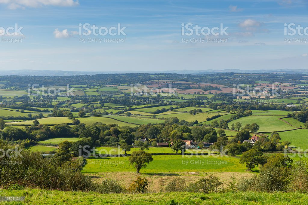 Blackdown Hills east Devon countryside view from East Hill stock photo
